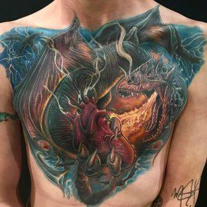 Chest Dragon Tattoo